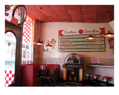 1950S Diner - At The Counter And Jukebox Photographic Print