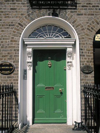 Green Door, Merrion Square, Dublin, Ireland Photographic Print