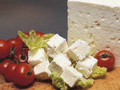 Close-Up of Cheese (Feta) with Tomatoes Photographic Print