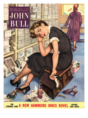 John Bull, Tired Fed-Up Stress Exhausted Sales Assistants Shoes Sales Shopping Magazine, UK, 1954 Premium Poster