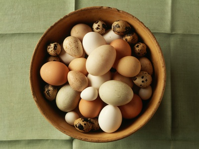 Variety of Eggs in a Bowl Photographic Print