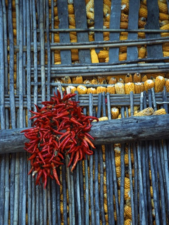 Chili Peppers and Corn Drying Photographic Print