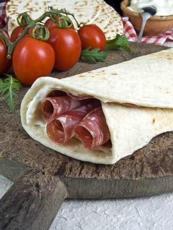 Piadina Flat Bread With Salami and Stracchino Cheese, Typical Emilia Romagna Food Photographic Print