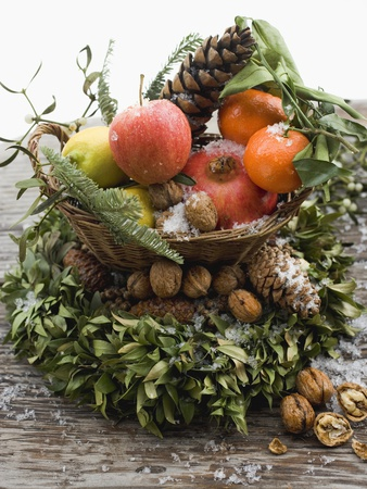 Christmas Decoration: Fruit, Nuts, Cones and Box Wreath Photographic Print