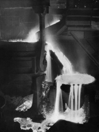"""Molten Steel Cascading in Otis Steel Mill in Historic """"Pouring the Heat"""" Photo Photographic Print by Margaret Bourke-White"""