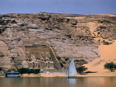 Boats on Nile River Passing Massive Statues of Pharoh Ramses II at Door to Queen Nefertari's Temple Photographic Print by James Burke