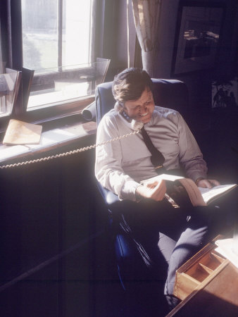 Senator Edward M. Kennedy on the Phone in His Office, Probably in Washington Dc Photographic Print by John Loengard