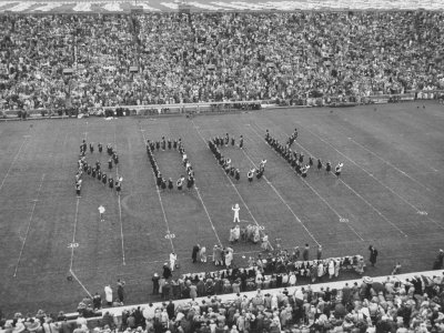 Navy vs. Notre Dame Football Game Half Time Tribute to its Legendary Coach, the Late Knute Rockne Photographic Print by Frank Scherschel
