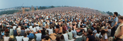 Seated Crowd Listening to Musicians Perform at Woodstock Music Festival Photographic Print by John Dominis