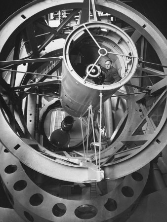 Astronomer Edwin Hubble Pictured Inside the Workings of the Huge 200 In. Mt. Palomar Telescope Premium Photographic Print by J. R. Eyerman