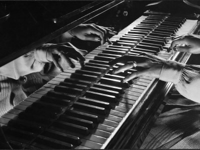 Jazz Pianist Mary Lou Williams's Hands on the Keyboard During Jam Session Metal Print by Gjon Mili