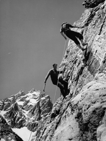 People Climbing the Teton Mountains Premium Photographic Print by Hansel Mieth