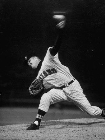 Cleveland Indians Herb Score Throwing the Ball Kunst på metal af George Silk