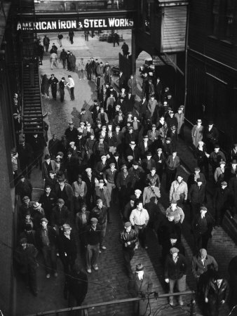Workers Leaving Jones and Laughlin Steel Plant at 3 P.M. Shift Photographic Print by Margaret Bourke-White