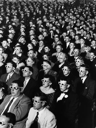 """Opening Night Screening of First Color 3-D Movie """"Bwana Devil,"""" Paramount Theater, Hollywood, CA Fotografisk tryk af J. R. Eyerman"""