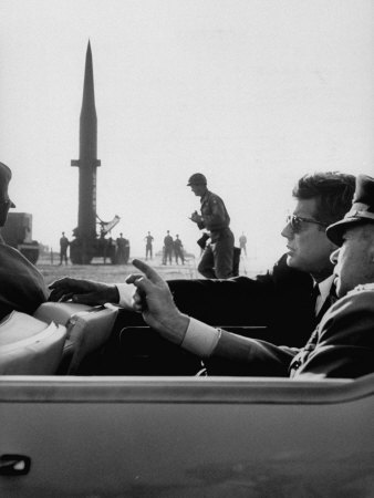 Pres. John F. Kennedy W. Gen. Paul Adams, During Tour of a Pershing Missile at Fort Bragg Premium Photographic Print