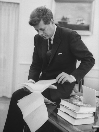 President John F. Kennedy Working in the White House Office Photographic Print