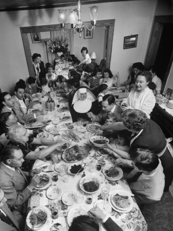 Festive Spread Through Dining Room at La Falce Family Reunion Photographic Print by Ralph Morse