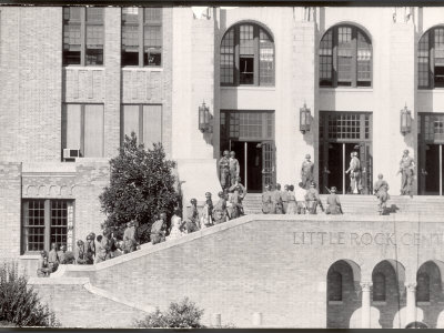 Federal Troops Escorting African American Students into School During Integration Photographic Print by Ed Clark