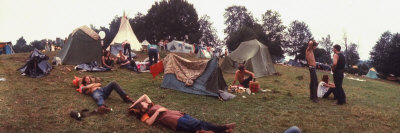 Young People Camping Out with Tents on a Grassy Hillside, During the Woodstock Music and Art Fair Photographic Print by John Dominis