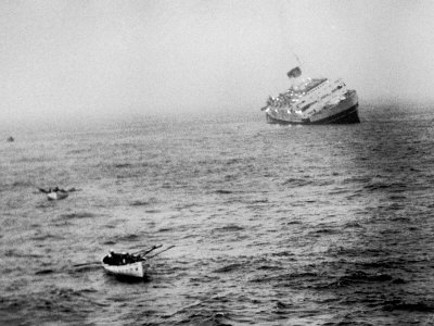 Italian Liner Andrea Doria Sinking in Atlantic after Collision with Swedish Ship Stockholm Photographic Print by Loomis Dean