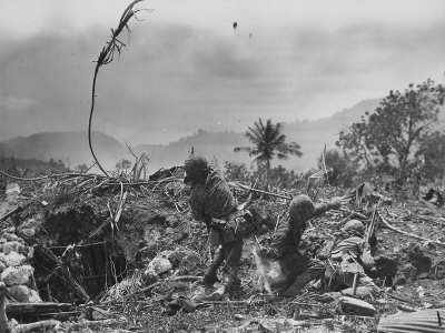 American Marine Hurls Hand Grenade Towards Japanese Position as His Partner Prepares to Do the Same Photographic Print
