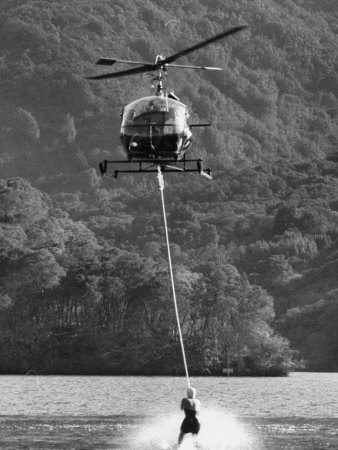 Helicopter Being Used for Ski-Towing Premium Photographic Print