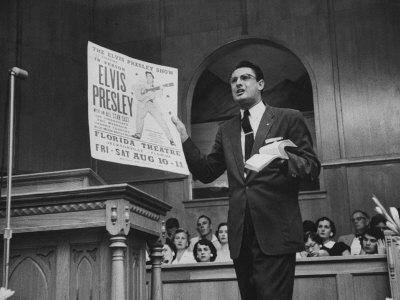 Baptist Preacher Robert Gray Denouncing Singer Elvis Presley During His Sermon Photographic Print
