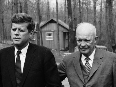 President John F. Kennedy Meeting with Former President Dwight Eisenhower at Camp David Photographic Print by Ed Clark