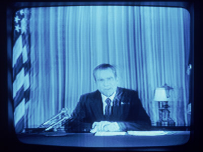 TV Image of Pres. Richard M. Nixon Announcing His Resignation in Speech from the Oval Office Photographic Print by Gjon Mili