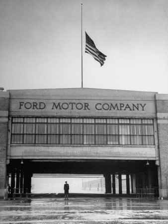With Flag at Half Staff, the Ford Plant Is Deserted for Henry Ford's Funeral Photographic Print by Ralph Morse