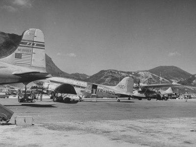 Airplanes Sitting at Kai Tai Airport Photographic Print