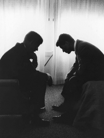 Senator John F Kennedy Conferring with His Brother and Campaign Organizer Bobby Kennedy Photographic Print