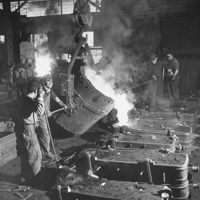 Men Working at the Iron and Steel Mill Photographic Print by Peter Stackpole