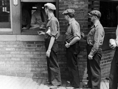 Workers Showing Tags to Enter Gate at Steel Plant Photographic Print by Alfred Eisenstaedt