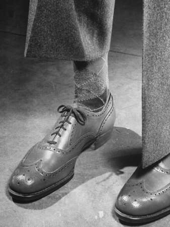 Pair of Men's Shoes, Illustrating One of the Shortages of Goods Because of the War Photographic Print by Nina Leen