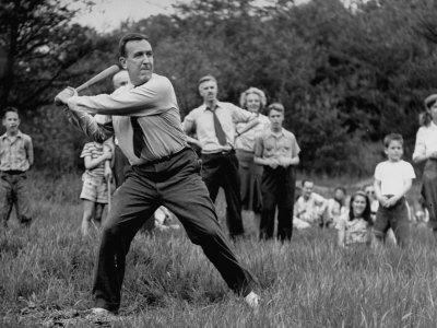 Chester W. Bowles Playing Baseball at a Picnic Photographic Print