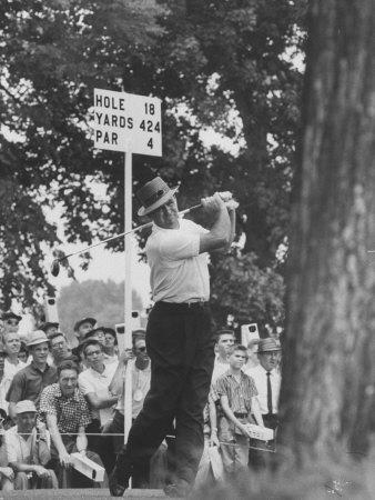 Golfer Sam Snead Hitting His Ball Premium Photographic Print