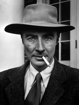 Portrait of American Physicist J. Robert Oppenheimer Wearing a Porkpie Hat and Smoking a Cigarette Metal Print by Alfred Eisenstaedt