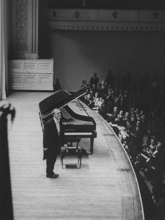 Soviet Pianist, Sviatoslav Richter, on Stage During His Tour Metal Print