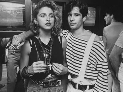 "Singer Madonna with D.J. Jellybean Benitez at Opening of Video Club ""Private Eyes Metal Print by David Mcgough"