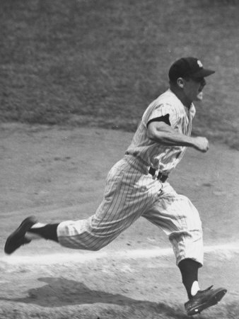 Yankee Mickey Mantle Running for Base During Baseball Game Metal Print by Ralph Morse