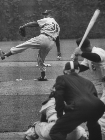 Dodger Don Newcombe Leaning with His Arm Cocked Back for the Pitch Metal Print