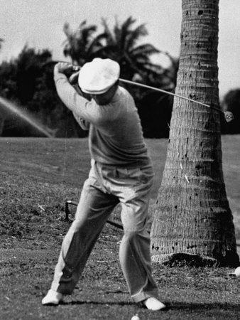 Golfer Ben Hogan, Demonstrating His Golf Drive Premium Photographic Print by J. R. Eyerman