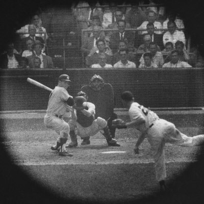 New York Yankees Player Mickey Mantle, Batting During Game Premium Photographic Print