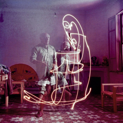 Triple Exposure of Artist Pablo Picasso Drawing with Light at His Home in Vallauris Premium Photographic Print by Gjon Mili