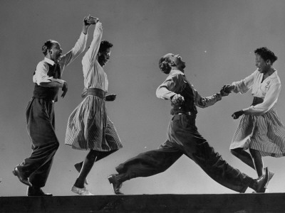 Composite: Leon James and Willa Mae Ricker Demonstrating Steps of the Lindy Hop Metal Print by Gjon Mili