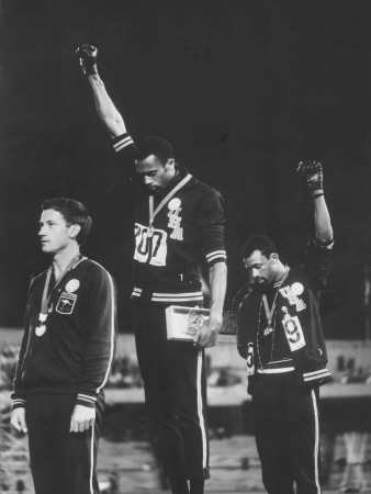 African-American Track Stars Tommie Smith and John Carlos after Winning Olympic Medals Metal Print by John Dominis