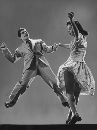Kaye Popp and Stanley Catron Demonstrating a Step of the Lindy Hop Premium Photographic Print by Gjon Mili