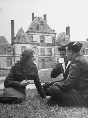 Female Dutch Corporal, French Sailor and British Soldier Having a Picnic Photographic Print